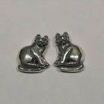 Sterling Silver sitting cat post earrings