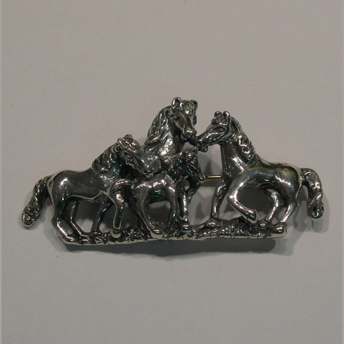 Sterling Silver horse herd pin/pendant