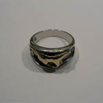 side view of Sterling Silver gold galloping horse ring