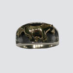 Sterling Silver gold galloping horse ring
