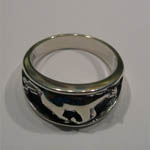 Sterling Silver side of galloping horse ring