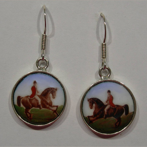 Sterling Silver enamel horse and rider earrings