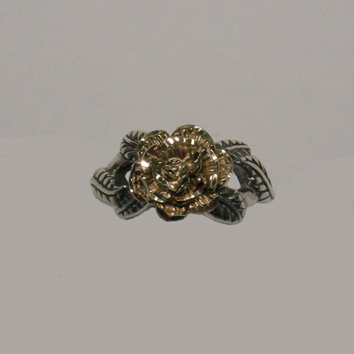Sterling Silver and gold rose ring