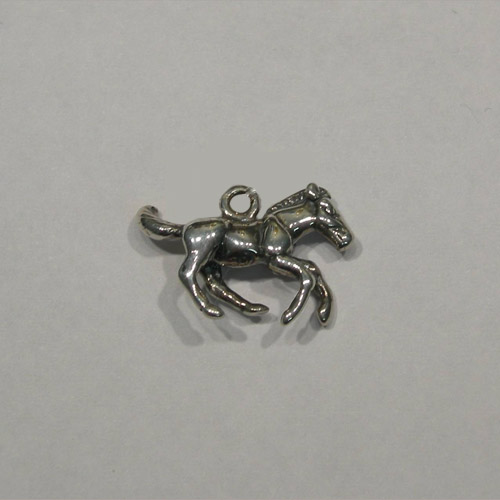 Sterling Silver 3 D galloping colt charm/pendant