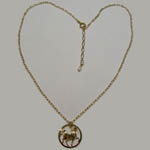 14 karat yellow gold plated prancing horse necklace and chain