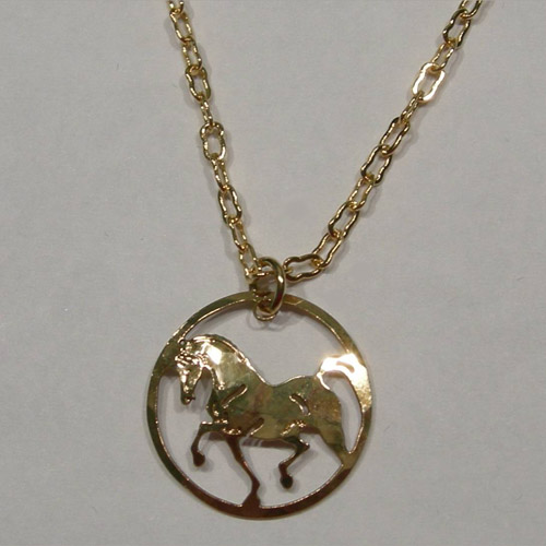 14 karat yellow gold plated charging horse in circle necklace