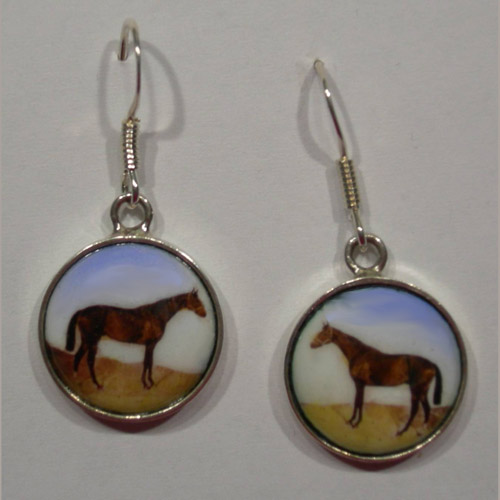 Sterling Silver enamel horse in field dangle earrings