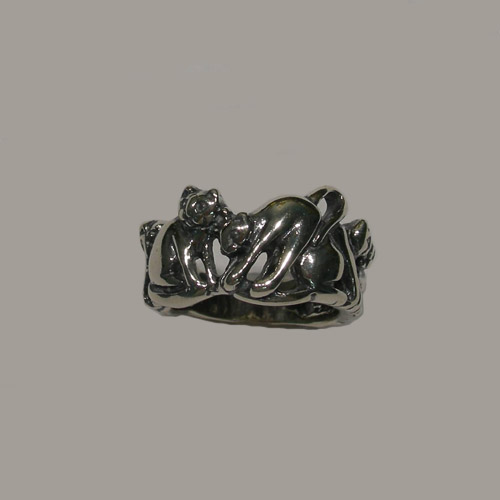 Sterling Silver five cats ring