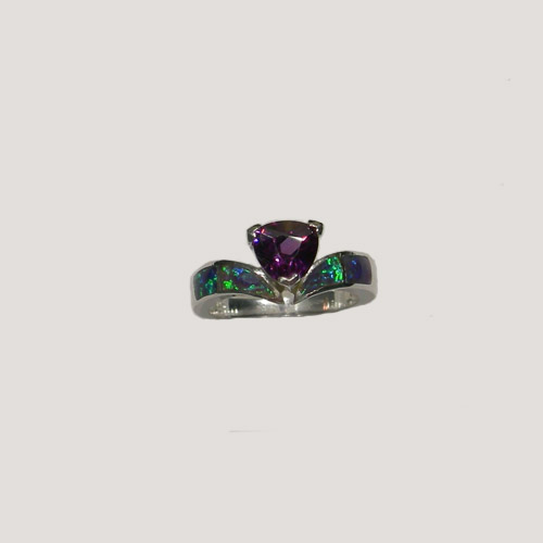 Sterling Silver Black Opal and Amethyst ring