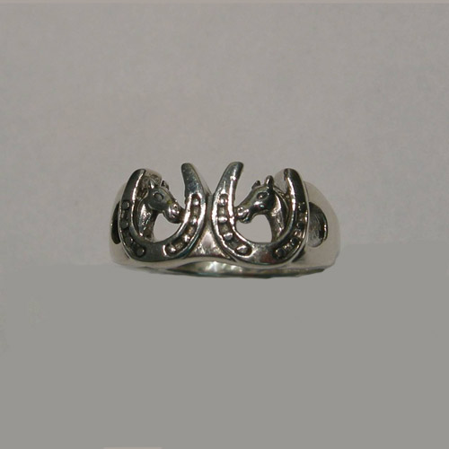 Sterling Silver double horse heads in horseshoes ring