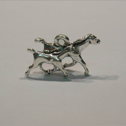 Sterling Silver galloping mare and foal charm/pendant