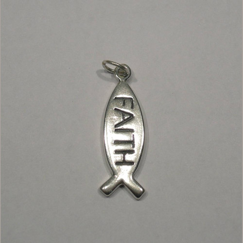 Sterling Silver icthus with FAITH pendant