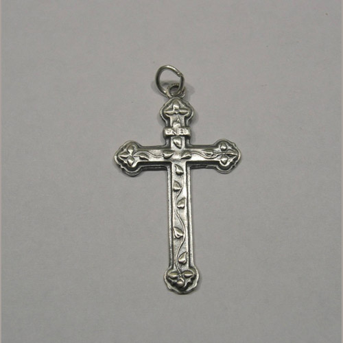 Sterling Silver cross with vine decorations pendant