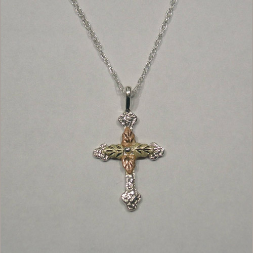 Black Hills Gold Sterling Silver leaf cross necklace