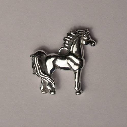 Sterling Silver 3 D standing horse charm/pendant