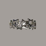 Sterling Silver side view of star ring