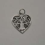 Sterling Silver filigree cross in heart pendant