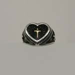 Sterling Silver cross in heart ring