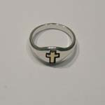 Side view of Sterling Silver and gold cross ring