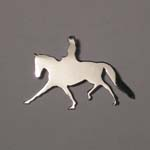 14 karat white gold Dressage rider and horse pendant