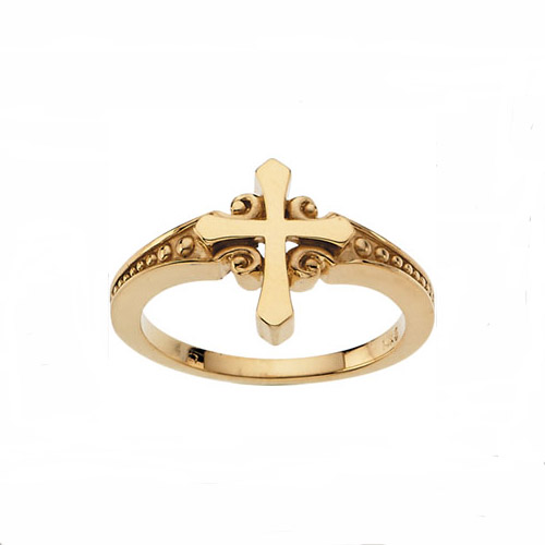 14 karat yellow gold cross and scroll and bead ring
