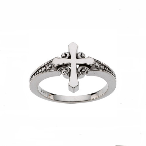 14 karat white gold cross and scroll and bead ring