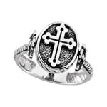 Sterling Silver cross and moonstone reversible ring