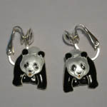 Sterling Silver and enamel Panda clip on earrings