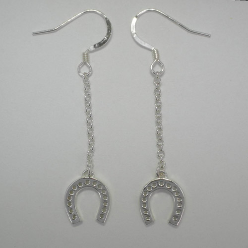 Sterling Silver dangle horse shoe earrings