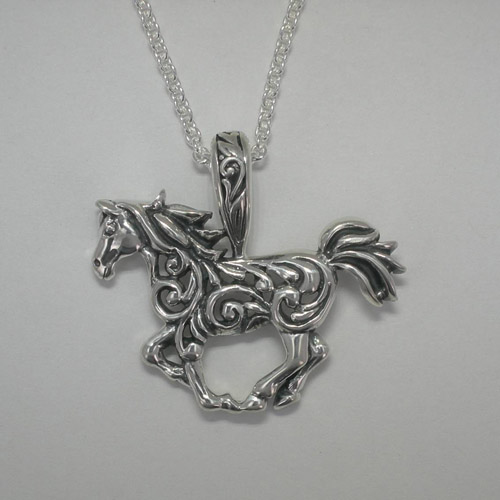 Sterling Silver filigree galloping horse necklace