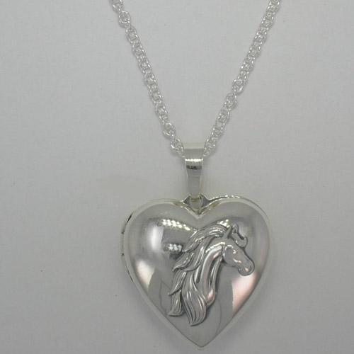 Sterling Silver front of heart shaped horse head locket