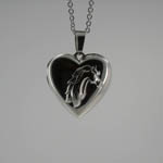 Sterling Silver heart shaped horse head locket