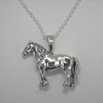 Sterling Silver Percheron horse necklace