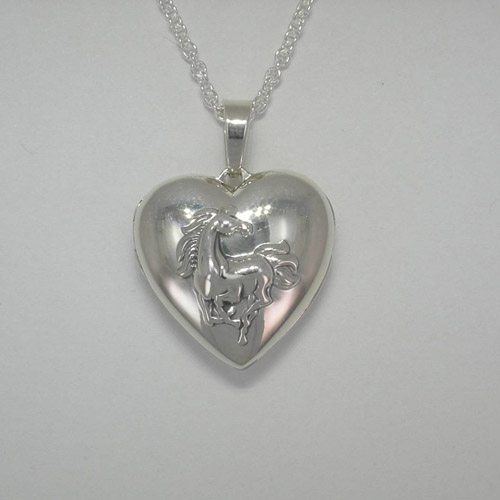 Sterling Silver heart shaped galloping horse locket