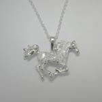 Sterling Silver textured galloping horse necklace