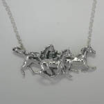 Sterling Silver three galloping Arabian horses necklace