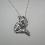 Sterling Silver seated Fox neckace