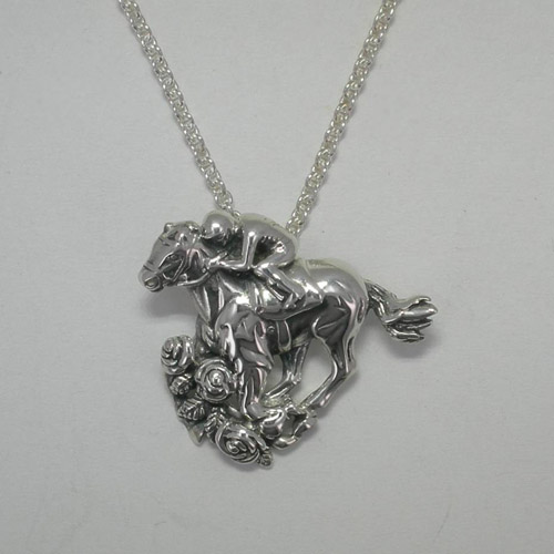 Sterling Silver Run for the Roses Thoroughbred and jockey necklace