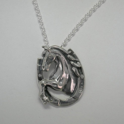 Sterling Silver rearing horse inside horseshoe necklace