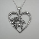 Sterling Silver mare and foal inside heart necklace