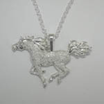 Sterling Silver pave galloping Arabian horse necklace