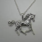 Sterling Silver large galloping horse necklace