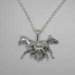 Sterling Silver Arabian mare and foal trotting necklace