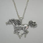 Sterling Silver galloping Arabian horse necklace