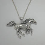 Sterling Silver small galloping Arabian horse necklace