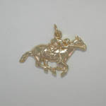 14 karat yellow gold Thoroughbred and jockey pendant