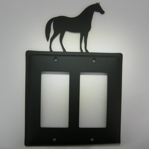 Wrought Iron Standing Horse double toggle electric light switch plate cover