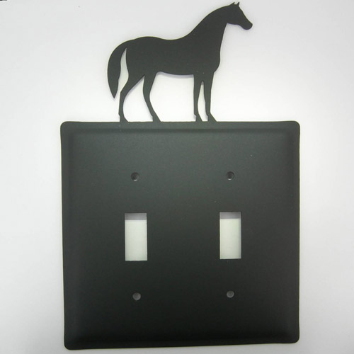 Wrought Iron horse electric double switch plate cover