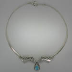 Sterling Silver Blue Topaz horse head necklace