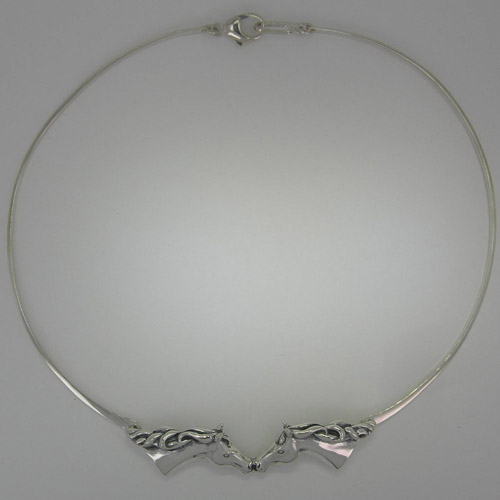 Sterling Silver double horse head necklace